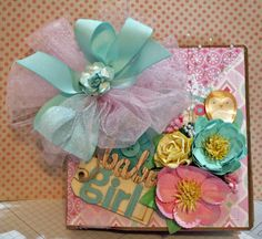 Handmade Baby Girl Scrapbook paper bag Mini Album~~~~~~ CUTE!~~~~~ #Handmade