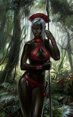 African Women Warrior Art by Tatiana Kirgetova Warrior Queen, Fantasy Warrior, Fantasy Women, Fantasy Girl, Dark Fantasy, Black Characters, Female Characters, African American Art, African Art