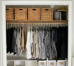 s 16 brilliant ways to squeeze much more into your closet, closet, organizing, storage ideas, Buy matching baskets for shelf stowage