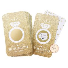 Inklings Paperie Faux Glitter Scratch-off Game Cards - 24 Count