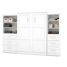 Bestar Pur Murphy Wall Bed with Two 3-Drawer Attached Storage Units White, Size: Queen - 26879-17