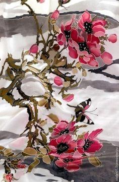 """Батик шарф 215 см """"Восточные мотивы"""" - батик,ручная роспись,экслюзивный подарок"""