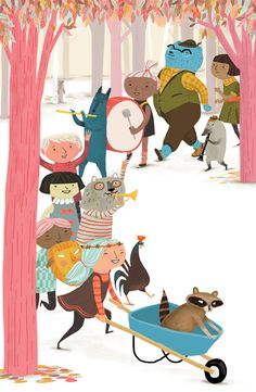 Some of my inspiration comes from whimsical children's book illustrations like this one. What a party!  (Artist: Jen Hill)