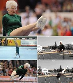 """86 YEARS OLD – Johanna Quaas is a true inspiration to all of us as she is spending her days tumbling, spinning and twirling on the gym floor and on the parallel bars no less! """"Let's make a long, strong and healthy life our goal ladies! Gymnastics Competition, Gymnastics Stuff, Women's Gymnastics, Senior Fitness, Senior Living, Aging Gracefully, Sport, Weight Lifting, Year Old"""