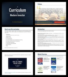 create the design layout for a multi-page curriculum for investors by Badrun