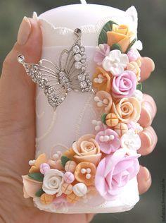 """Купить Свечи свадебные""""Бабочки"""" 2 - белый, свечи ручной работы, свечи на свадьбу"""