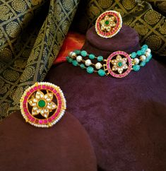 An unusual pair of Kundan earrings, accented with Nakash handmade gundus, finished off with jade bead hangings. Fancy Jewellery, Gold Jewellery Design, Bead Jewellery, Gems Jewelry, Beaded Jewelry, Jewelery, Pearl Necklace Designs, Gold Choker Necklace, Pendant Earrings