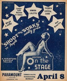 """Shoot The Works"" poster 1930s35 People        mostly girls"