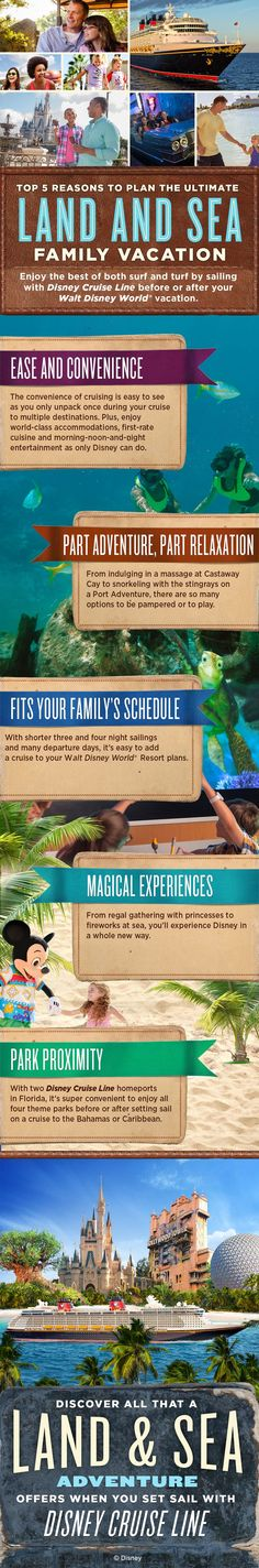 Enjoy the best of both surf and turf by sailing with Disney Cruise Line before or after your Walt Disney World vacation. Click to learn more about Disney vacations by land and by sea!
