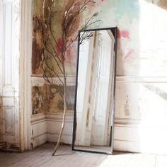 A tall sleek mirror with an iron frame and a distressed black finish, the aged paintwork is authentically cracked and bubbled. The Tall iron Mirror is perfect for rustic style bedrooms and dressing rooms. Mirrors Uk, Rustic Style Bedroom, Iron, Large Mirror, Beautiful Bathrooms, Entrance Mirror, Window Pane Mirror, Mirror, Standing Mirror