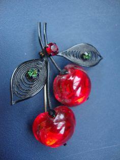 Vintage Austria Glass Fruit Cherry With Rhinestones Brooch