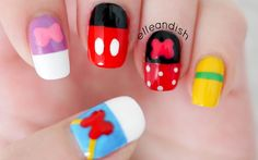 Abstract Walt Disney Friends Inspired Nails