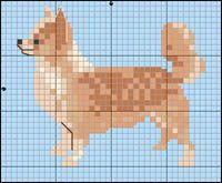 Chihuahua (långhårig) Cross Stitch Charts, Cross Stitch Embroidery, Cross Stitch Patterns, Pixel Crochet Blanket, Fillet Crochet, Needlepoint Designs, Animal Quilts, Dog Crafts, Dog Pattern