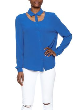 Bright blue button down top with long sleeves and a detached collar.   Classic Blue Top by MinkPink. Clothing - Tops - Long Sleeve Clothing - Tops - Blouses & Shirts Austin, Texas