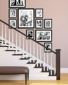 Staircase picture wall staircase, gallery wall staircase, stair photo w Staircase Wall Decor, Stairway Decorating, Stair Decor, Stair Walls, Stair Photo Walls, Staircase Frames, Staircases, Staircase In Living Room, Black Staircase