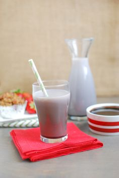 Homemade chocolate milk made with just 4 simple ingredients!  *I would use agave, honey, or simple syrup with ideal in place of maple syrup
