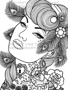 Digital Download Print Your Own Coloring Book Outline Page - Sapphire Night by…