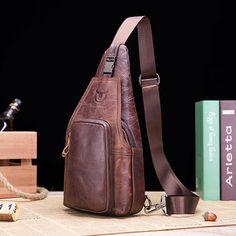 BULLCAPTAIN Genuine Leather Business Casual Chest Bag Crossbody Bag For Men  Cheap Crossbody Bags 7f765239b624c