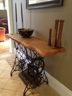 Reclaimed Barn Wood table on antique Singer sewing machine stand