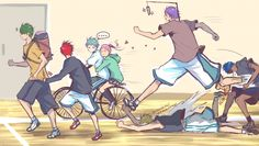 LoL Lameo, Murasakibara! XD He could just grab it with his longass arms! No need to run over Kise and keep Aomine from having babies!