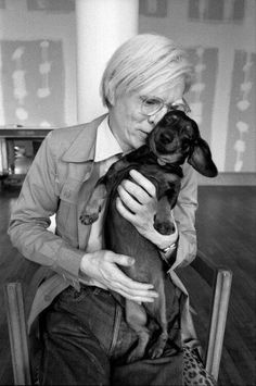 Andy Warhol and his dog Archie, he also had another dachshund called Amos. Andy Warhol, Love Dogs, Puppy Love, Dog Photoshoot, Celebrity Dogs, Dachshund Love, Daschund, Vintage Dachshund, Weenie Dogs