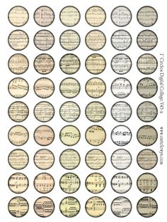 Music Notes Bottlecap Images / Vintage Classical Sheet Music V2 / Printable Digital Collage for Bottle Cap Necklaces. $1,75, via Etsy.