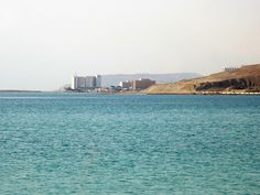Along Highway south of Masada, looking toward the hotel area of Ein Bokek, Israel Dead Sea Israel, Aqua, Turquoise, Sea Level, Stunning View, San Francisco Skyline, New York Skyline, Ocean, Faith