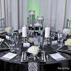 elegant table decorations for weddings | Elegant Reception Table Ideas Photograph | Elegant Black and