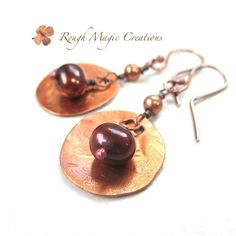 Pearls and Copper Boho Earrings. Large Rustic Dangles. Handmade Jewelry by RoughMagicCreations  https://www.etsy.com/listing/280662600