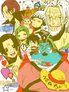 One Piece Trafalgar D. Water Law, Monkey D. Luffy, Jinbie, Boa Hancock,Sandersonia, Marigold, Shanks, Bepo, Shachi, Penguin,