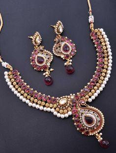 Necklace Set with Antique Dark Pink Stone