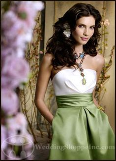 Choosing Bridesmaid Dress Colors:   Green Bridesmaid Dresses...Jim Hjelm Bridesmaid Dress JH5957T (in Apple)