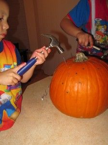 A unique way to explore pumpkins.  Great for fine motor skills, and a fun way to practice using a hammer.