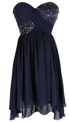 Pretty dark blue dress with a night sky look to it.
