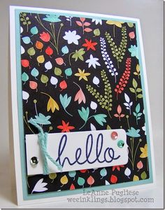 handmade  hello card by LeAnne Pugliese WeeInklings ColourQ250 Hey There  ... thought she just found a great patterned paper, layered it and added a tag with HELLO, sequins and thick string wrap ... on reading her description discover that she colored some of the white flowers of the black and white patterned paper ... luv it! ... Stampin'Up!