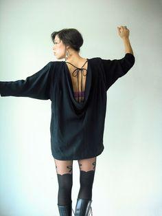 80s Vintage Black Draped Backless Dress / Dolman by viralthreads, $48.00