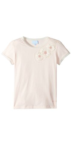 Fascinating flower power.  Allow beautiful moments to blossom in the lovely #Lanvin #Kids #Short #Sleeve #T-Shirt with #Beaded #Daisy #Design on #Front. #girls #child #children #childrenswear #tops #tees #t-shirts #apparel #clothing
