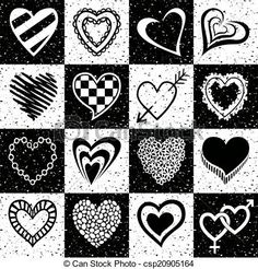 Hand drawn set of black and white hearts.  Vector - stock illustration, royalty free illustrations, stock clip art icon, stock clipart icons, logo, line art, EPS picture, pictures, graphic, graphics, drawing, drawings, vector image, artwork, EPS vector art