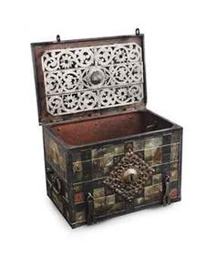 A German wrought-iron polychrome-decorated armada chest Antique Safe, Antique Boxes, Safe Vault, Wooden Trunks, Trunks And Chests, Tea Box, Asian Decor, Casket, Art Of Living