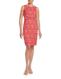 """<ul> <li>Floral lace textures a shapely sheath silhouette</li> <li>Roundneck</li> <li>Sleeveless</li> <li>Concealed back zipper closure</li> <li>Open embroidered trim</li> <li>Scalloped hem</li> <li>Fully lined</li> <li>Back vent</li> <li>About 38.5"""" from shoulder to hem</li> <li>Cotton/nylon</li> <li>Dry clean</li> <li>Imported</li> <li>This item will arrive with a tag attached and instructions for removal. Once tag is removed, this item cannot be returned.</li> </ul>"""