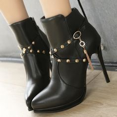 Shoespie Patent Leather Cross Strap Fringe High Heel Boots