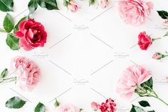 Floral frame with roses by Floral Deco on @creativemarket