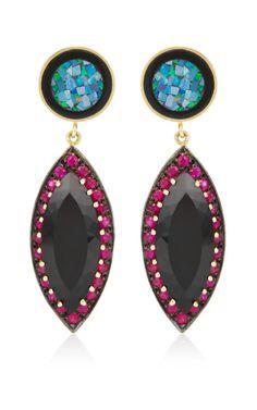Round Opal Mosaic & Onyx Marquis Earrings by Andrea Fohrman for Preorder on Moda Operandi