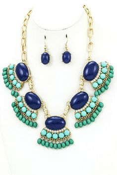 JILL NECKLACE- Cabochon linked necklace set featuring a cascade of resin beads