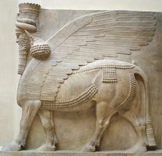 Human headed winged bull profile -Low-Relief originally placed at the entrance of the palace Dur Sharrukin- Art of Assyria
