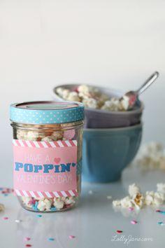 White Chocolate Popcorn in Mason Jar - Valentine Gift for Her - Valentine's Day Gift Ideas in Mason Jars