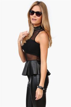 Mesh Peplum Top in Black