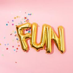 metallic gold fun balloon letters