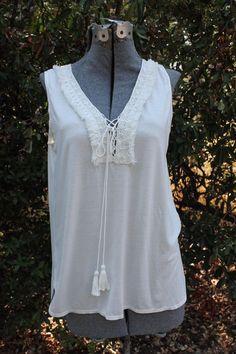 Max Studio Off-White Sleeveless Top Tassels Crochet Small NWT $78 #MaxStudio #KnitTop