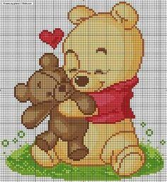 Winnie the phoo Xmas Cross Stitch, Cross Stitch Baby, Cross Stitch Animals, Cross Stitching, Cross Stitch Embroidery, Embroidery Patterns, Crochet Pixel, Graph Crochet, Disney Cross Stitch Patterns